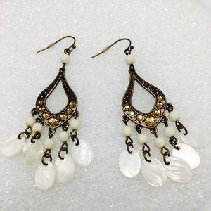 Boho gold pearl earrings crystal chandelier